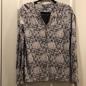 Lucky Brand | Black Paisley Print Long Sleeve Top